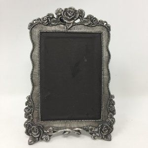 Small Silver Rose Floral Picture Frame Pewter